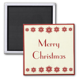 Red Snowflake Merry Christmas Magnet