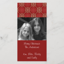 Red Snowflake pattern Holiday photo card