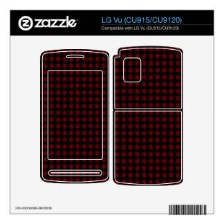 Red Snowflake Pattern with Black Background LG Vu Decals