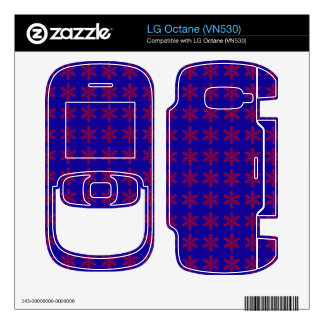Red Snowflake Pattern with Blue Background Skins For LG Octane
