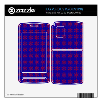 Red Snowflake Pattern with Blue Background Decal For The LG Vu