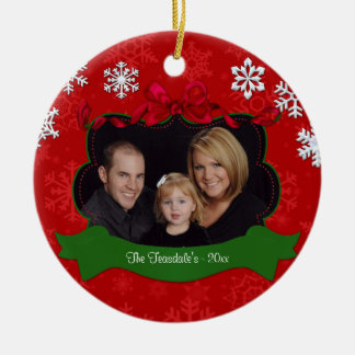 Red Snowflake Personalized Photo Ornament