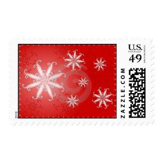 red snowflake postage