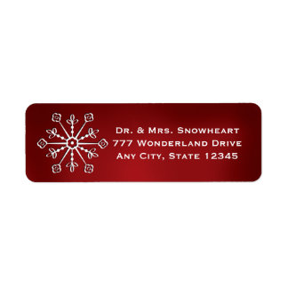 Red Snowflake Return Address Labels Stickers