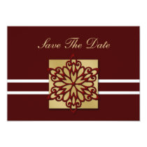 red snowflake save the date announcement