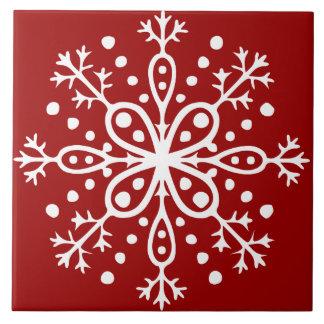 Red Snowflake Tile