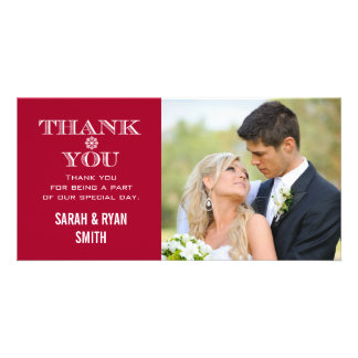 Red Snowflake Wedding Photo Thank You Cards Photo Card
