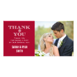 Red Snowflake Wedding Photo Thank You Cards Personalized Photo Card