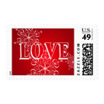 Red Snowflake Winter Love Postage