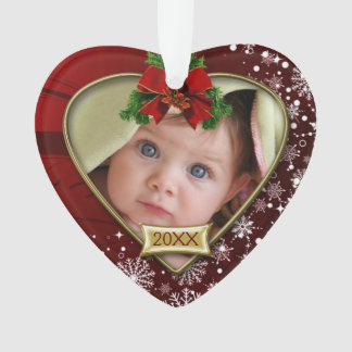 Red/Snowflakes Baby's 1st Christmas Ornament