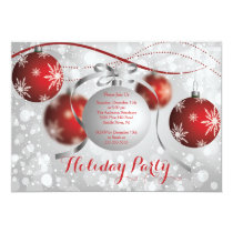 Red Snowflakes Bokeh Holiday Party Invitation