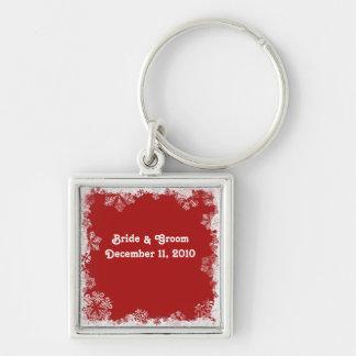 Red Snowflakes Bride & Groom Keychain