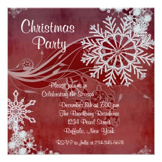 Red Snowflakes Christmas Party Invitations