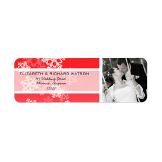 Red Snowflakes Christmas Wedding Label