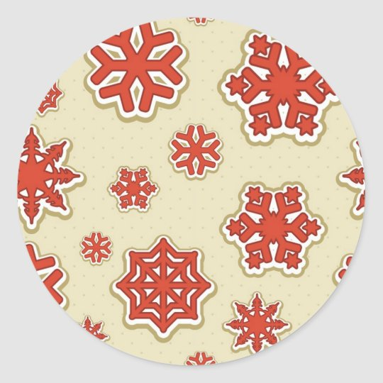 Red Snowflakes Classic Round Sticker