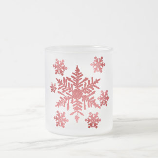 Red Snowflakes Frosted Christmas Cup Mug