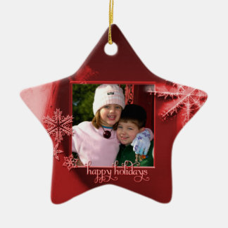 """Red Snowflakes """"Happy Holidays"""" Photo Ornament"""