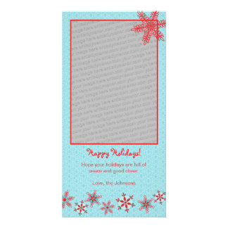 Red Snowflakes Holiday Photo Card Template