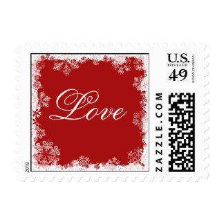 Red Snowflakes Love Postage