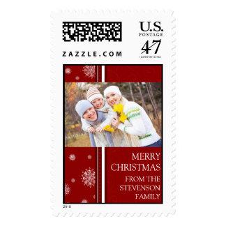 Red Snowflakes Merry Christmas Custom Name Photo Postage