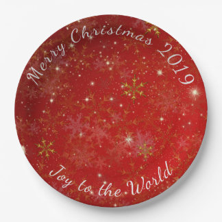 Red Snowflakes Merry Christmas Dated Party Plates