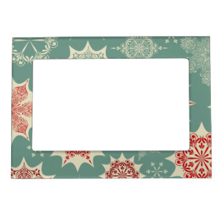 Red snowflakes on a green background magnetic picture frame