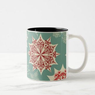 Red snowflakes on a green background Two-Tone coffee mug