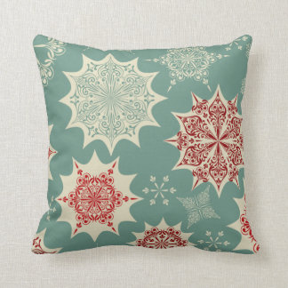 Red snowflakes on a green background pillows
