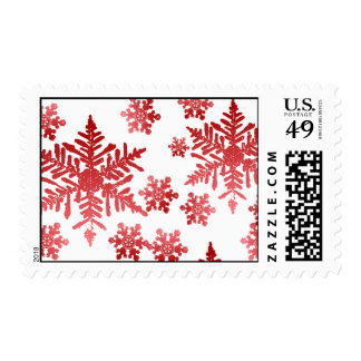 Red Snowflakes on White Background Postage