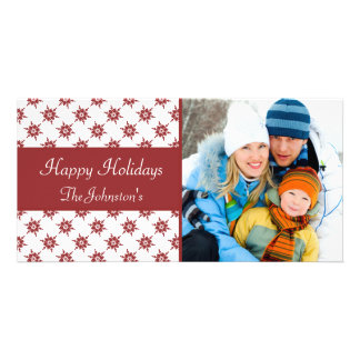 Red Snowflakes Pattern Christmas Photo Card