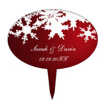 red snowflakes  personalized cake picks