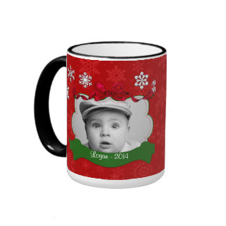 Red Snowflakes Photo Christmas Mug