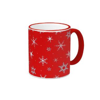 Red Snowflakes Ringer Mug