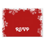 Red Snowflakes RSVP Card Custom Announcement