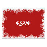 Red Snowflakes RSVP Card Invite