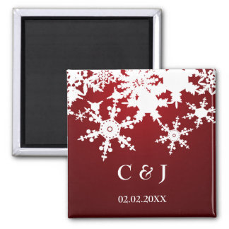 red snowflakes save the date magnets