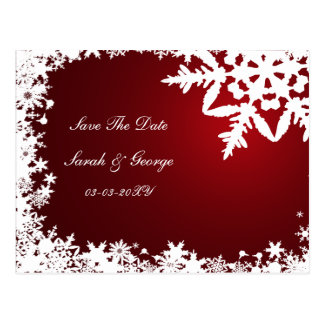 red snowflakes save the date postcard