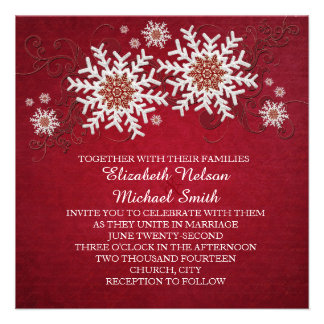 Red Snowflakes Swirls Wedding Invite