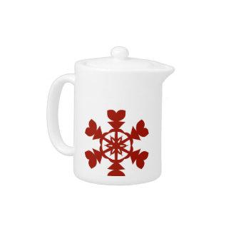 Red  Snowflakes Teapot