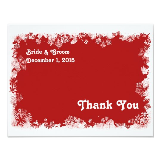 Red Snowflakes Thank You Card