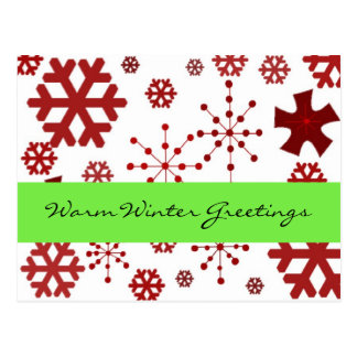 Red Snowflakes Warm Winter Greetings Postcard