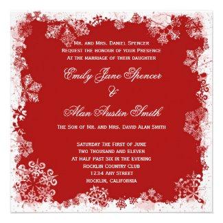 Red Snowflakes Wedding Invitation