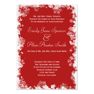 Red Snowflakes Wedding Invitation