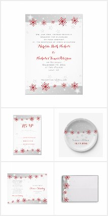 Red snowflakes wedding invitations collection