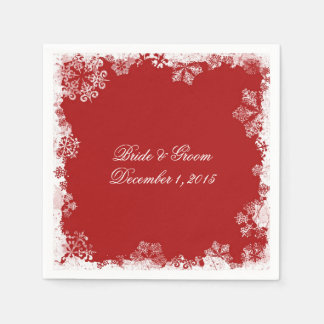 Red Snowflakes Wedding Paper Napkins