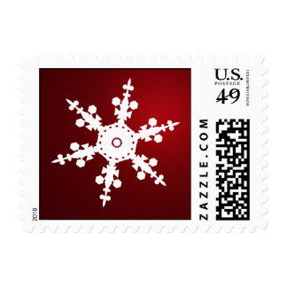 red snowflakes winter holidays stamps