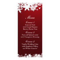 red snowflakes winter wedding menu