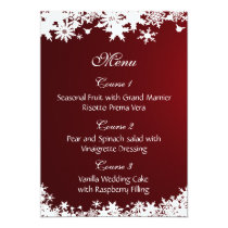 red snowflakes winter wedding menu card