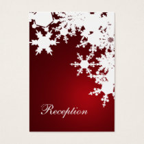 red snowflakes winter wedding reception cards