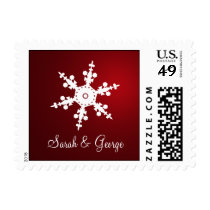 red snowflakes winter wedding stamps